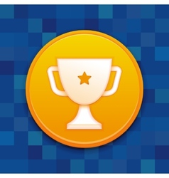 Gamification badge with white cup vector