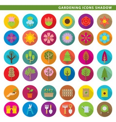 Gardening icons shadow vector
