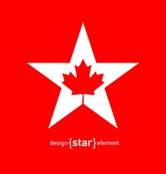 Star with canadian maple leaf vector