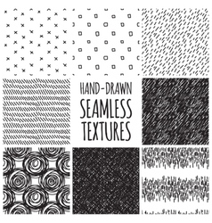 Set of eight black and white seamless hand drawn vector