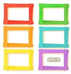 Wooden picture frames color set vector