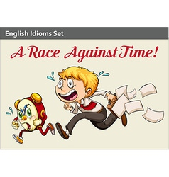 A boy racing against time vector