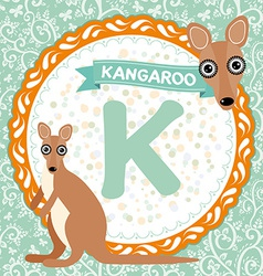 Abc animals k is kangaroo childrens english vector