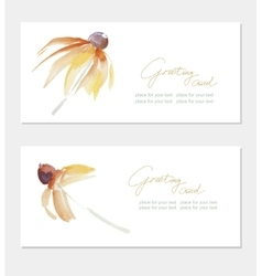 Floral greeting card with beautiful yellow flovers vector