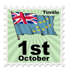 Post stamp of national day of tuvalu vector