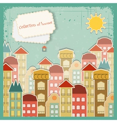 Houses on vintage background vector