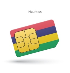 Mauritius mobile phone sim card with flag vector