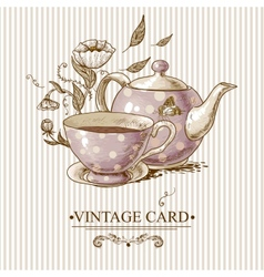 Vintage card with cup pot flowers and butterfly vector