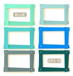 Wooden picture frames blue set vector