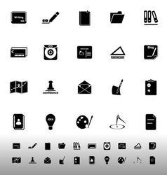 Writing related icons on white background vector