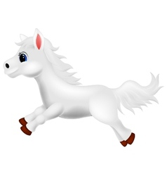 Cute white pony horse cartoon running vector