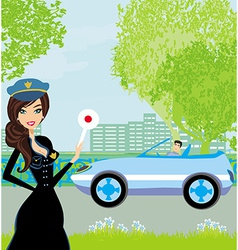 A beautiful police woman stops auto vector