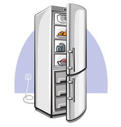 Two door refrigerator vector