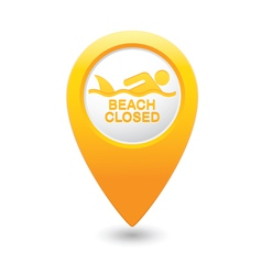 Shark sighting icon yellow map pointer vector