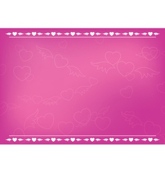 Pink romantic card with hearts vector