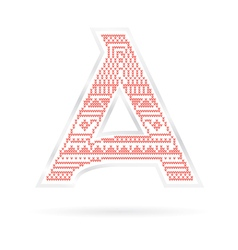 Label with red knitted letter a vector