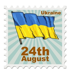 Post stamp of national day of ukraine vector