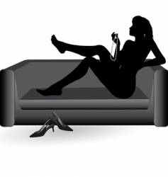 Woman on the sofa vector
