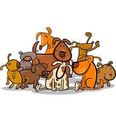 Cartoon group of cute dogs vector