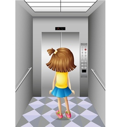 A little girl at the elevator vector