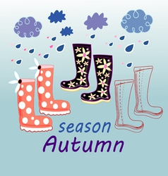 Autumn background with rubber boots vector