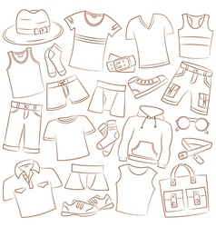 Summer menwear and accessories vector