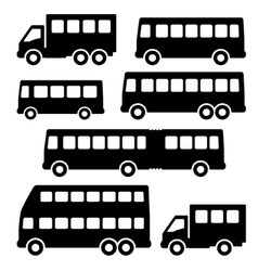 Set bus silhouette on a white background vector