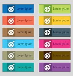 Film icon sign set of twelve rectangular colorful vector