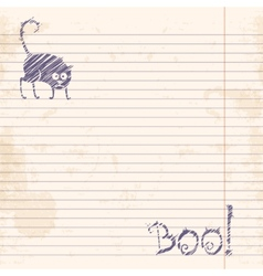 Halloween cat boo sketch on notebook ruled paper vector