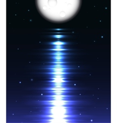 Moon reflection over water against black vector
