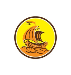 Sailing galleon ship circle retro vector
