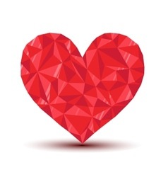 Polygonal ruby heart with reflection and shadow vector