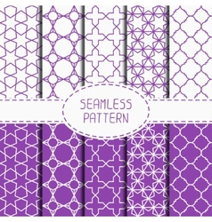 Set of geometric lattice seamless arabic pattern vector