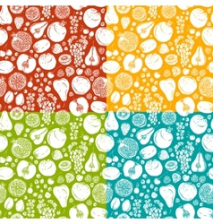 Fruits and berries sketch seamless pattern vector