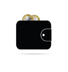 Wallet with one euro icon vector