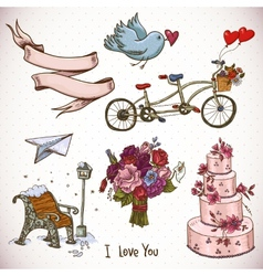 Doodle set elements of valentines day and wedding vector