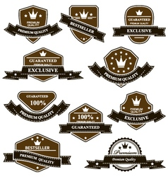 Old heraldic medals and emblems with ribbons vector