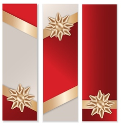 Golden bow banner set vector