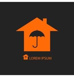 Orange house with umbrella vector