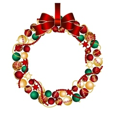 Christmas wreath decoration from christmas balls vector