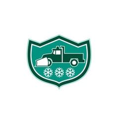 Snow plow truck snowflakes shield retro vector