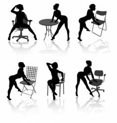 Girls with armchairs vector