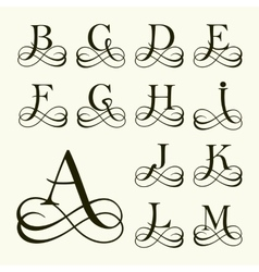 Set capital letter for monograms and logos vector