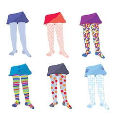 Children tights set with patterns vector