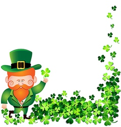 Irish man with shamrock frame for st patricks day vector