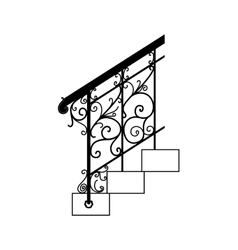 Black forged metal railings with floral motifs vector