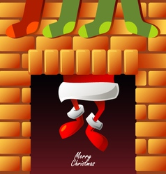 Santa claus climbs through the chimney vector