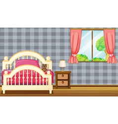 A bed and side table vector