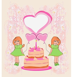 Birthday invitationgirl holding balloons and a vector