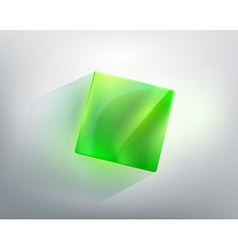 Abstraction with a green glass cube vector